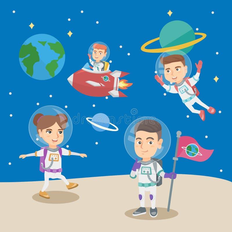 Grupa małe dzieci bawić się w astronauta royalty ilustracja