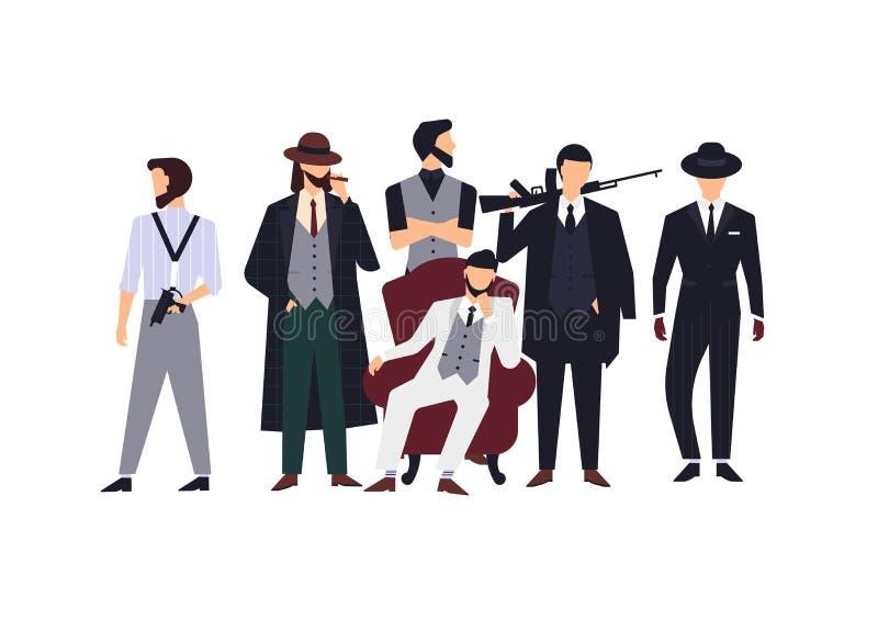 Grupa mafijni członkowie lub mafiosi ubieraliśmy w eleganckich retro kostiumach i mienie ogienia pistoletach odzieżowych lub form royalty ilustracja