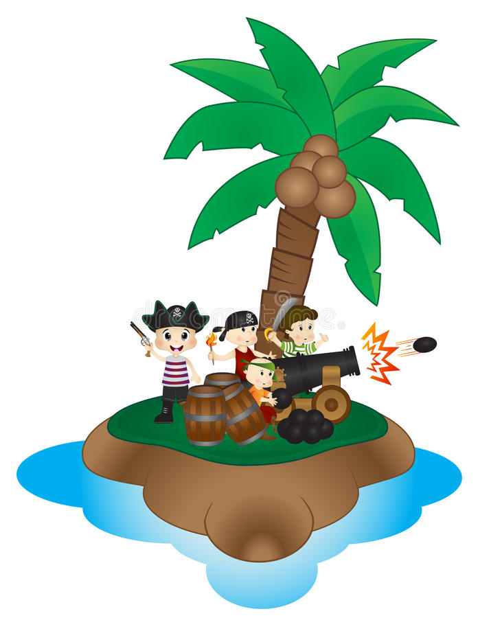 Grupa Mali piraci z działo piłką na wyspie royalty ilustracja
