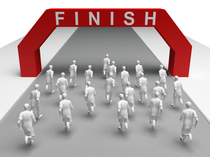 Grupa maratonów biegaczów bieg koniec royalty ilustracja