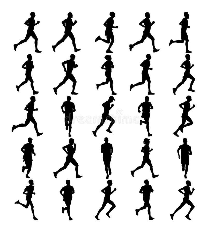 Grupa maratonów setkarzów biegać Maratońscy ludzie wektor sylwetki Miastowi biegacze na ulicie ilustracji