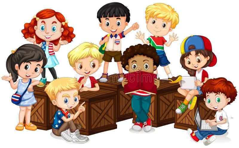 Grupa międzynarodowi dzieci ilustracji