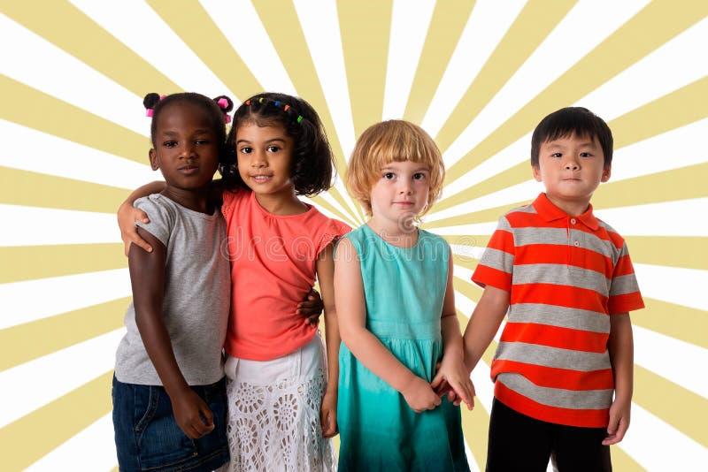 Grupa multiracial dzieciaka portret obrazy stock