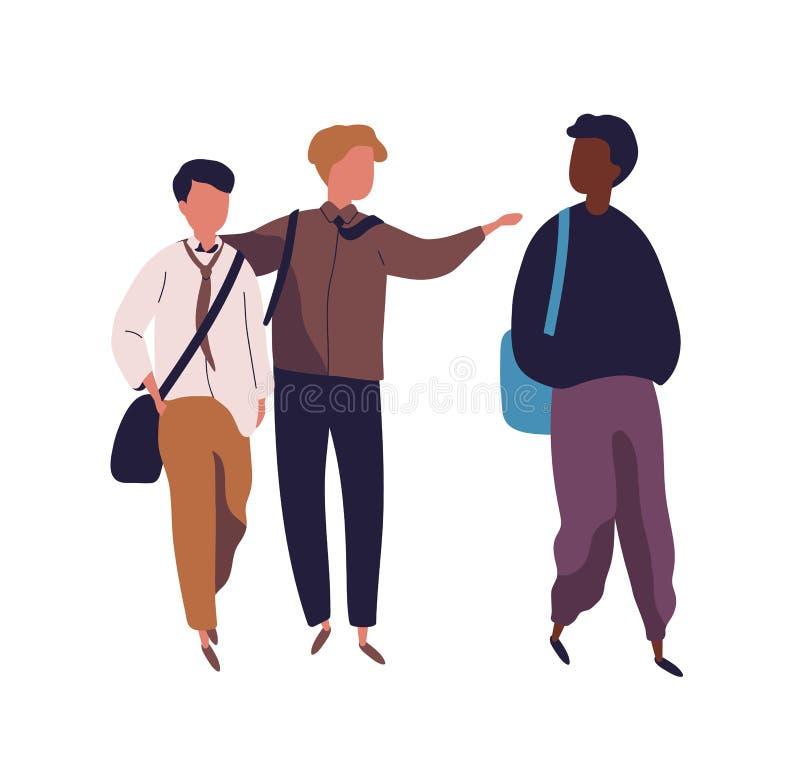 Grupa nastoletni chłopacy odizolowywający na białym tle Męscy ucznie, ucznie, koledzy z klasy lub szkoła przyjaciele chodzi wpóln ilustracji