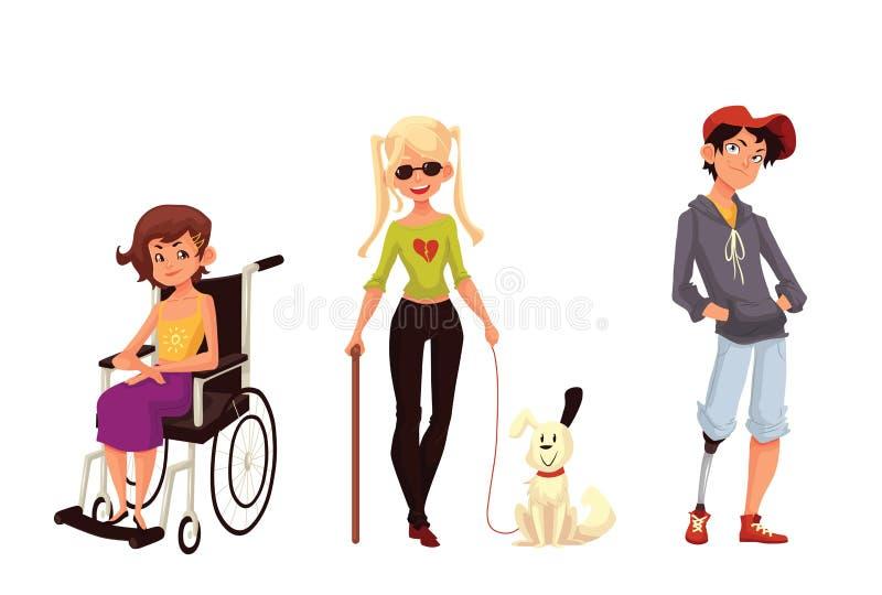 Grupa niepełnosprawne dzieci, wózka inwalidzkiego niewidomy prothesis ilustracji