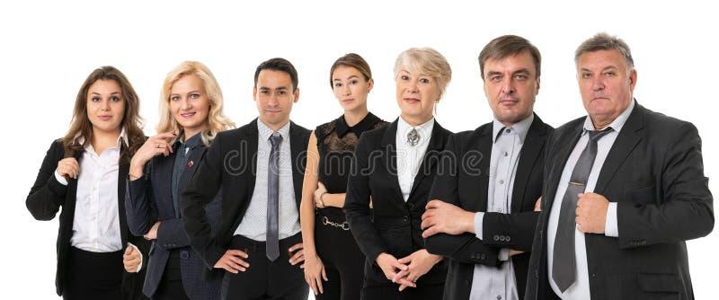grupa osób, które odniosły sukces w biznesie odosobniona na białym obrazy stock