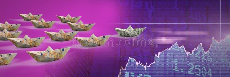 Grupa Papierowe łodzie na ekonomicznych statystycznych mapach ilustracja wektor