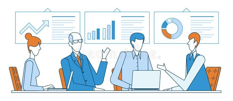Grupa partnery biznesowi dyskutuje wykresy podczas gdy siedzący przy biurkiem podczas konferencji w biurowym mieszkanie linii wek ilustracji