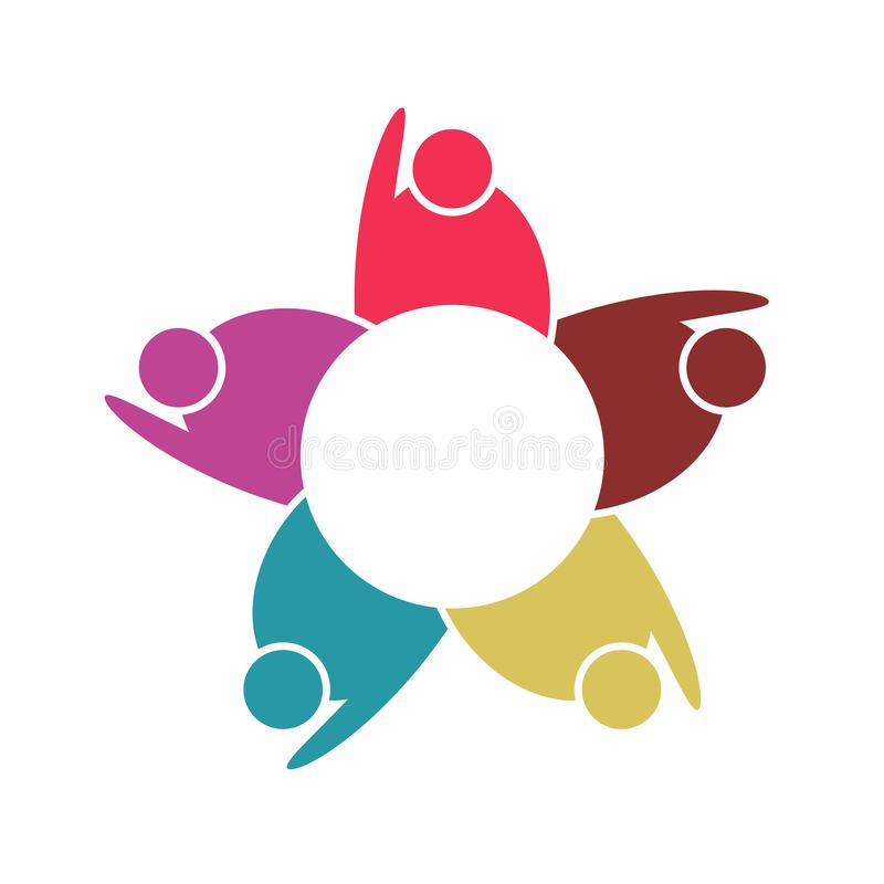 Grupa pięć ludzi w okręgu Pracy zespołowej spotkanie ludzie spotykają w pokoju Potężne łączyć siły ilustracji