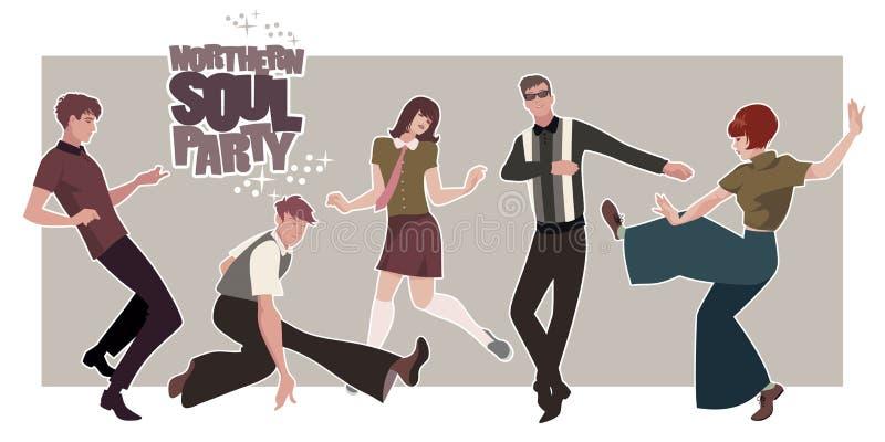 Grupa pięć młodzi ludzie być ubranym retro odziewa, tanczący Mod lub Północnego dusza styl ilustracji