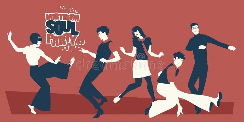 Grupa pięć młodzi ludzie być ubranym retro odziewa, tanczący Mod lub Północnego dusza styl ilustracja wektor