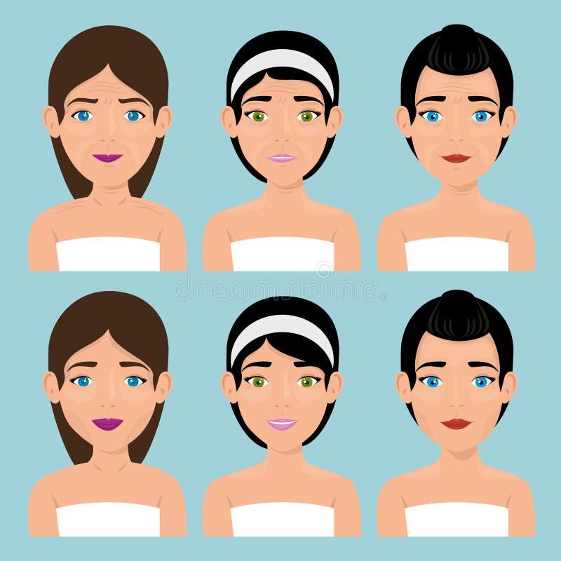 Grupa piękne kobiety w traktowaniu twarzowym ilustracji