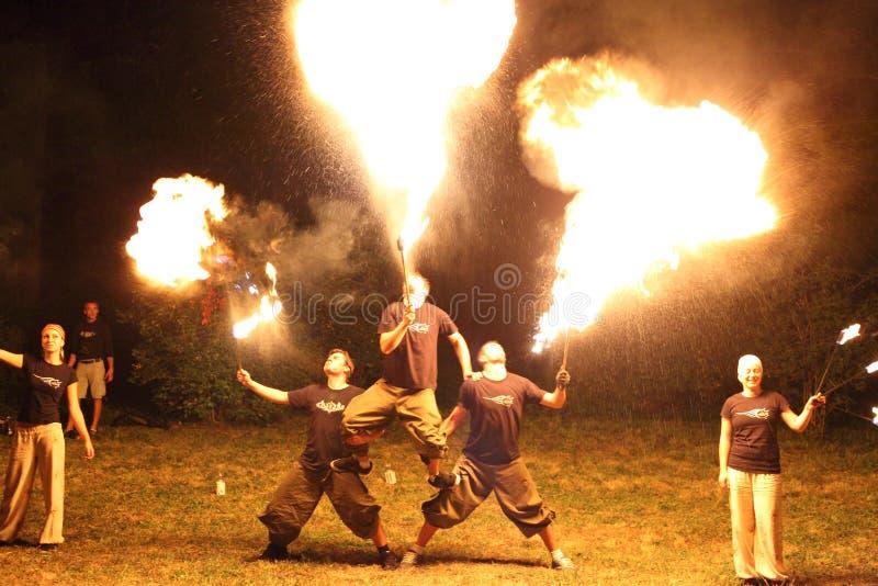 Grupa pożarniczy jugglers zdjęcie royalty free