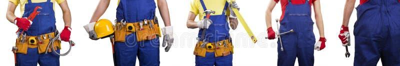grupa pracownicy budowlani i mechanik na bielu obraz stock