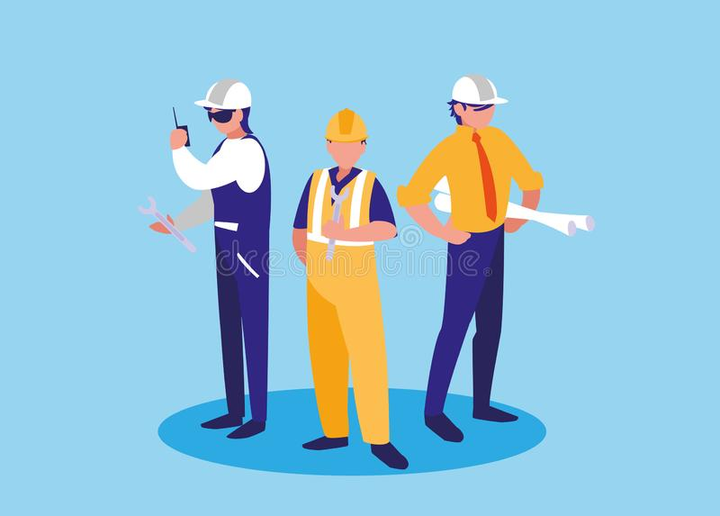 Grupa pracowników industrials avatar charakter royalty ilustracja