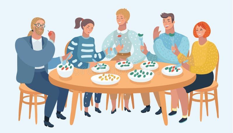 Grupa przyjaciele Je dobrych nastroje i dzieli ilustracja wektor