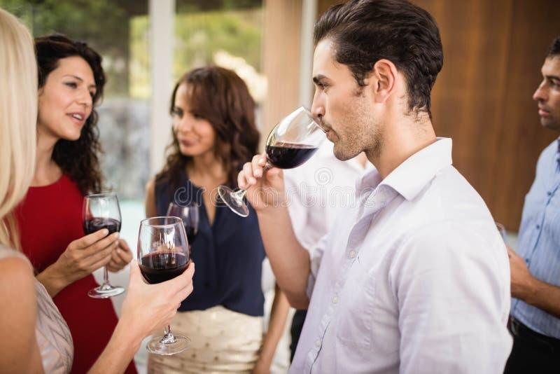 Grupa przyjaciele ma wino zdjęcie royalty free