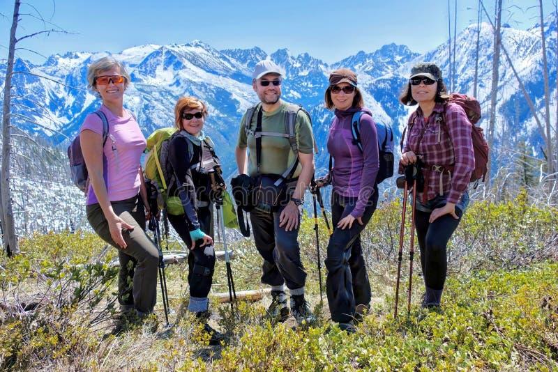 Grupa przyjaciele wycieczkuje w górach zdjęcia royalty free