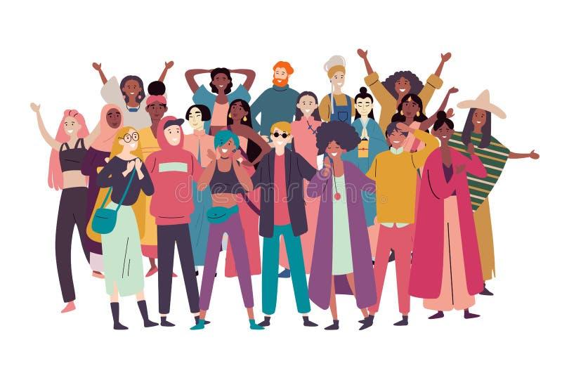 Grupa różnorodni ludzie, mieszany biegowy tłum ilustracja wektor