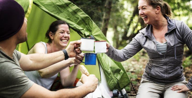 Grupa różnorodni przyjaciele obozuje w lesie obrazy royalty free