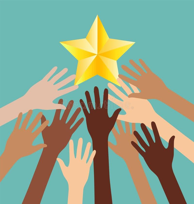 Grupa różnorodności ręki dojechanie Dla gwiazd, sukces metafora royalty ilustracja