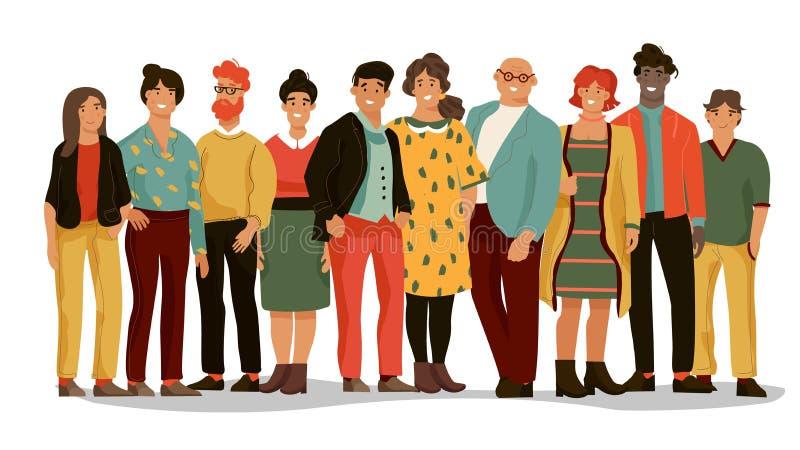 Grupa r??norodni ludzie Biurowego pracownika drużyna młodzi szczęśliwi mężczyźni i kobiety, kreskówki pracownicy portrety Wektoro royalty ilustracja