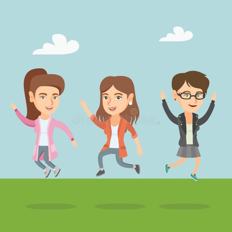 Grupa radośni caucasian ludzie skakać ilustracji