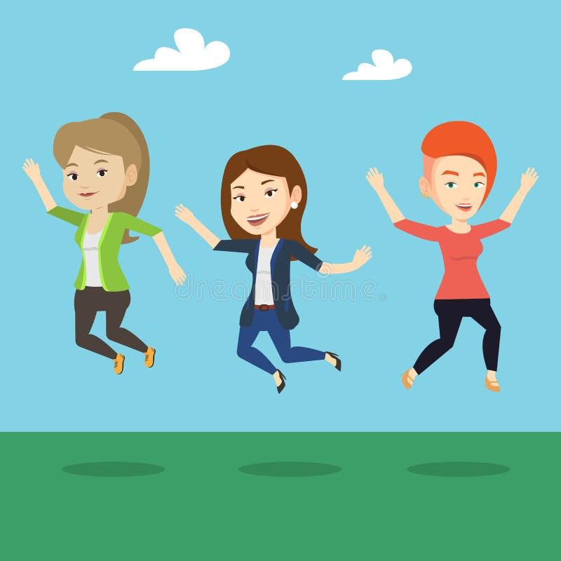 Grupa radośni młodzi ludzie skakać royalty ilustracja