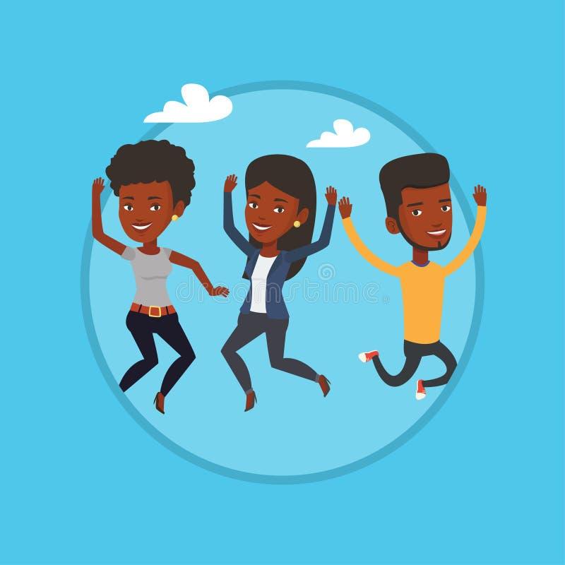 Grupa radosny młody przyjaciół skakać ilustracji