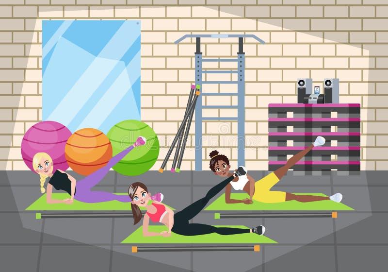 Grupa robi ćwiczeniu w gym kobieta royalty ilustracja