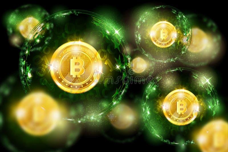 Grupa round sfery z binarnym kodem i złota kawałek moneta w centrum Biznesu zielony horyzontalny tło royalty ilustracja