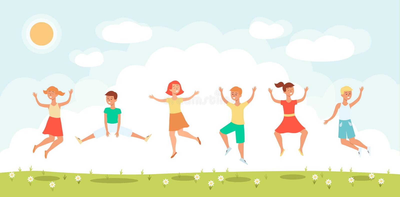 Grupa rozochoceni dzieci skacze płaską wektorową ilustrację na słonecznym dniu royalty ilustracja