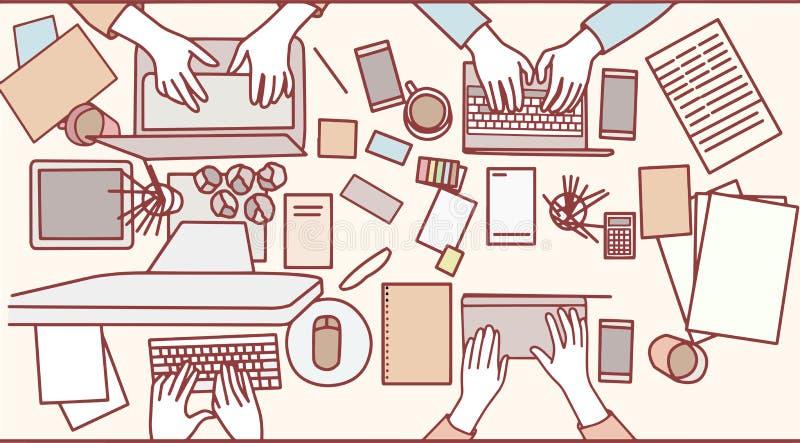 Grupa ruchliwie ludzie biznesu spotyka w biurze ilustracji