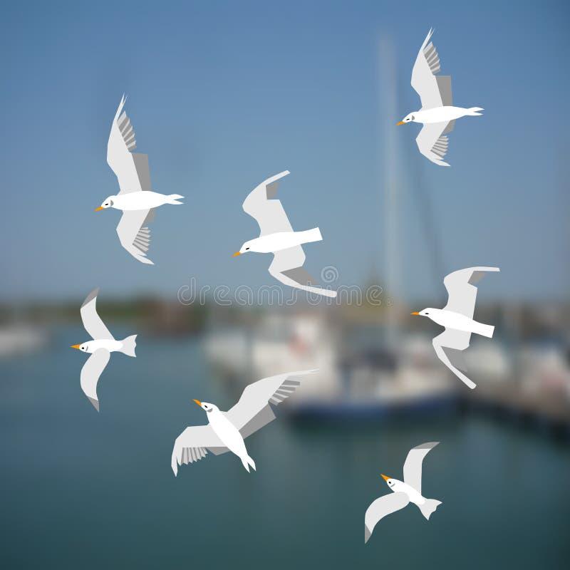 Grupa seagulls lata na dennym tle royalty ilustracja