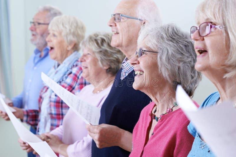 Grupa seniory Śpiewa W chorze Wpólnie zdjęcie royalty free