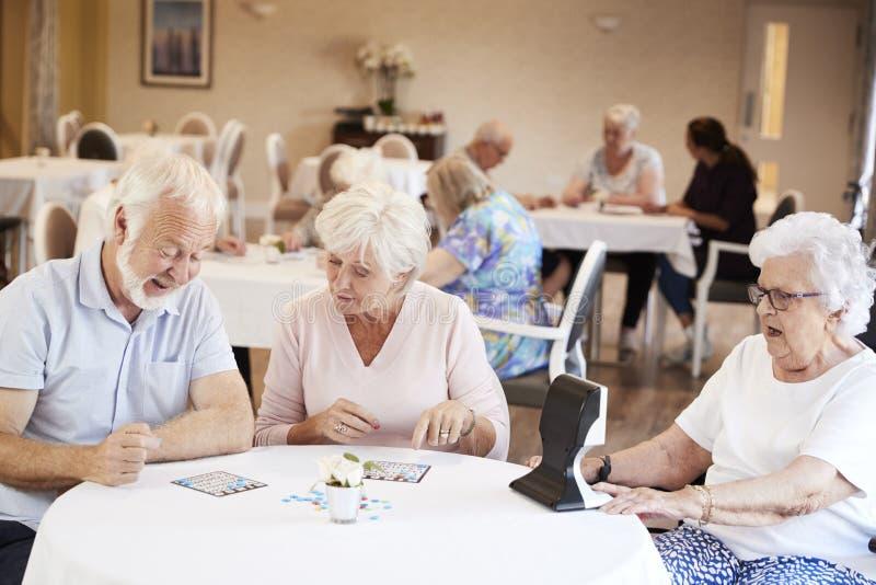 Grupa seniory Bawić się grę Bingo W emerytura domu obrazy royalty free