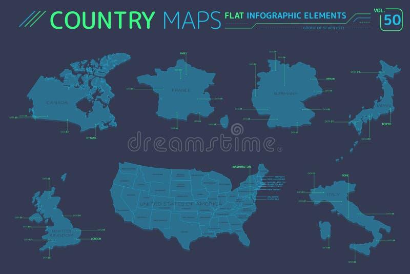 Grupa Siedem G7, Zjednoczone Królestwo, Niemcy, Włochy, Kanada, Stany Zjednoczone Ameryka, Francja i Japonia Wektorowe mapy, ilustracja wektor