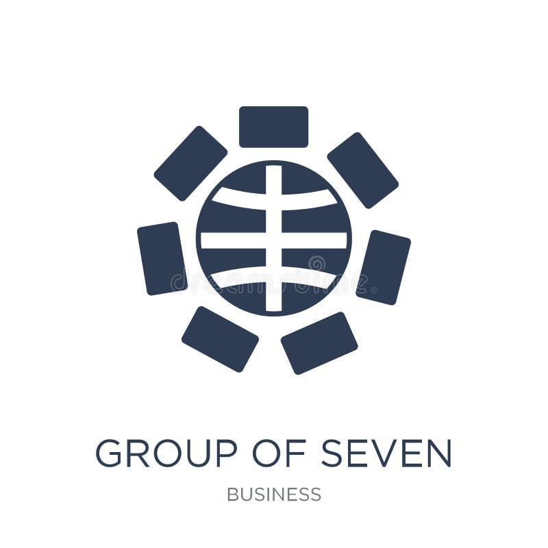Grupa Siedem ikona (G7) Modna płaska wektor grupa Siedem (G7) ilustracja wektor