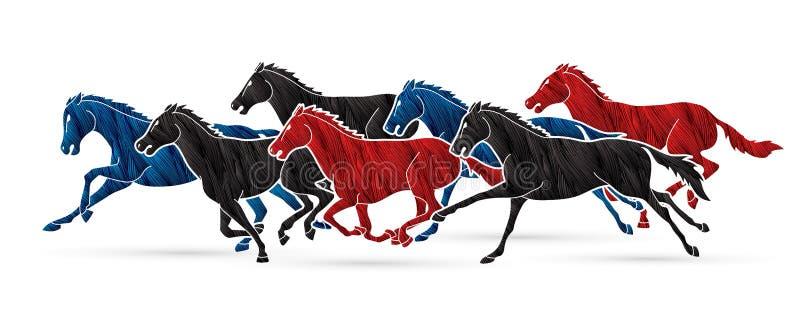 Grupa siedem koni biega kresk?wki grafik? ilustracji