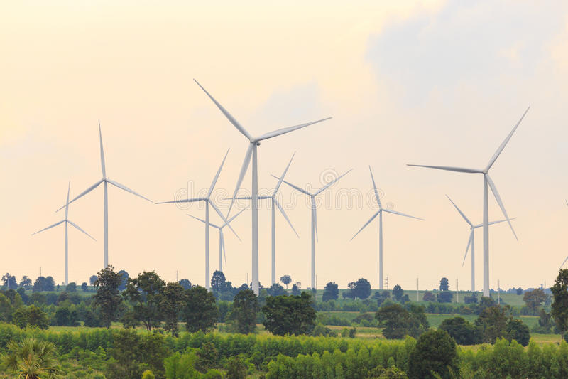 Grupa silnika wiatrowego generator obraz royalty free