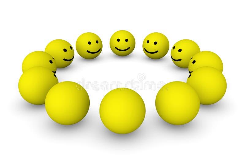 Grupa smiley piłki ilustracja wektor