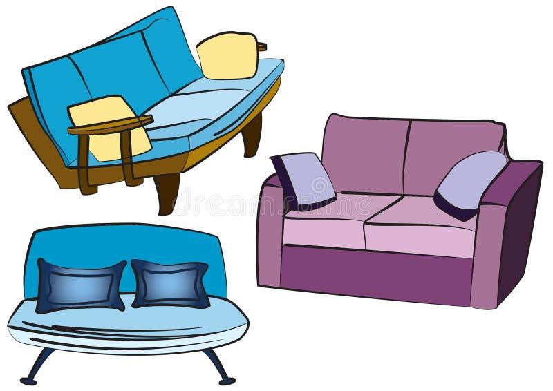 grupa sofę przedmiotów, ilustracja wektor