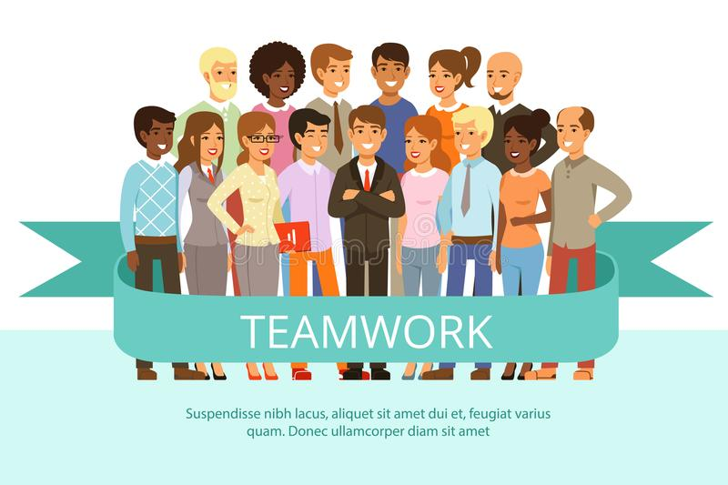 Grupa społeczna na pracie Biurowi ludzie w przypadkowych ubraniach Duża korporacyjna rodzina Wektorowi charaktery w kreskówka sty ilustracji