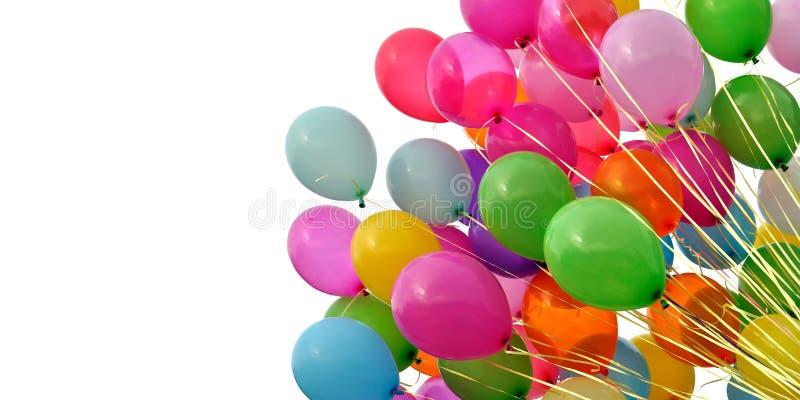 Grupa stubarwni balony, odosobniona na białym tle, zdjęcia royalty free