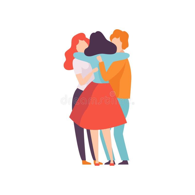 Grupa Szczęśliwa Młoda samiec i kobieta Obejmuje Each Inny, ludzie Świętuje wydarzenie, najlepszy przyjaciele, przyjaźni pojęcie royalty ilustracja