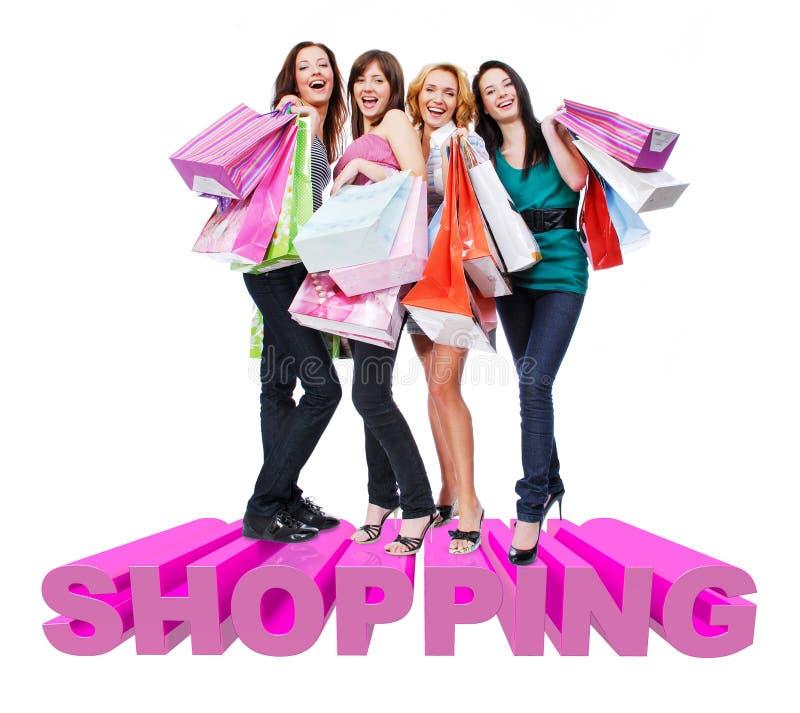 Grupa szczęśliwe kobiety z torba na zakupy obraz royalty free