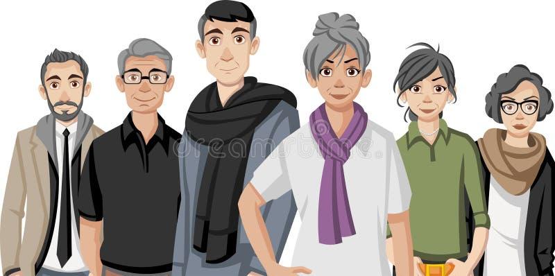 Grupa szczęśliwej kreskówki starzy ludzie royalty ilustracja