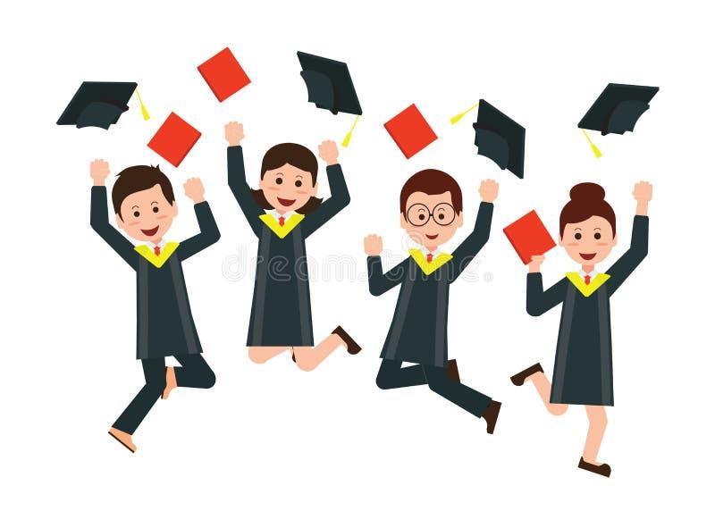 Grupa szczęśliwi absolwenci rzuca skalowanie kapelusze w powietrzu cel ilustracja wektor