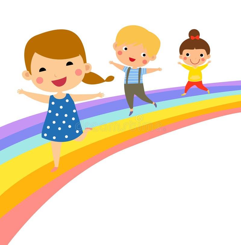 Grupa szczęśliwi dzieci ma zabawę na tęczy ilustracji