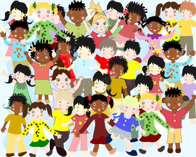 Grupa szczęśliwi dzieci różne narodowości royalty ilustracja